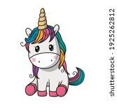 cute unicorn colors fantasy... | Shutterstock . vector #1925262812