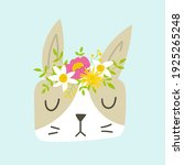 bunny girl face with floral...   Shutterstock .eps vector #1925265248