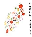 sliced vegetables with pepper... | Shutterstock .eps vector #1925278415