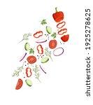 sliced vegetables with tomato... | Shutterstock .eps vector #1925278625