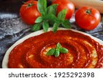 Raw Pizza Dough With Tomato...