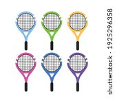 set of colored tennis rackets... | Shutterstock .eps vector #1925296358