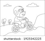 cool bear and motorcycle funny... | Shutterstock .eps vector #1925342225