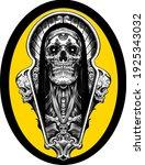 skull yellow psychedelic sketch ... | Shutterstock .eps vector #1925343032