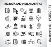 big data icons set, web analytics icons set