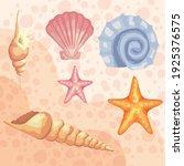 bundle of six sea shells colors ... | Shutterstock .eps vector #1925376575