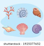 bundle of six sea shells colors ... | Shutterstock .eps vector #1925377652