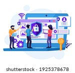 cyber security concept  people... | Shutterstock .eps vector #1925378678