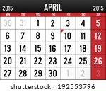 calendar for april 2015 | Shutterstock .eps vector #192553796