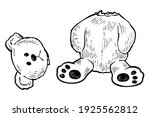 teddy bear with torn of head ... | Shutterstock .eps vector #1925562812