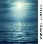 Moon Reflecting In A Sea. Retr...