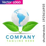 world globe icon with leaf... | Shutterstock .eps vector #1925616935