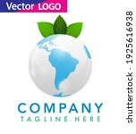 world globe icon with leaf... | Shutterstock .eps vector #1925616938