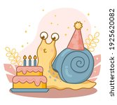 happy cute cartoon snail with a ... | Shutterstock .eps vector #1925620082