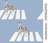 funny pattern zebra crosses the ... | Shutterstock .eps vector #1925622932