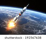 Carrier Rocket Launch. 3d Scen...