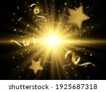 golden confetti falls on a... | Shutterstock .eps vector #1925687318