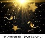 golden confetti falls on a... | Shutterstock .eps vector #1925687342