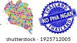 Ko Pha Ngan Map Vector Image....