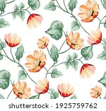 seamless vector leaves and red...   Shutterstock .eps vector #1925759762