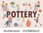 pottery vector flat banner...   Shutterstock .eps vector #1925882612