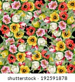 colorful floral seamless... | Shutterstock . vector #192591878