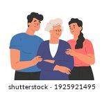 happy adult children hugging... | Shutterstock .eps vector #1925921495