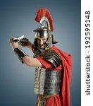 roman soldier with sword ready... | Shutterstock . vector #192595148