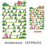 Little Red Riding Hood maze for kids - vectors. Help the girl to find a way to reach her grandma, who is living on the other side of the forest.