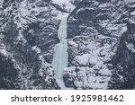 Icey Waterfall In Winter Season ...