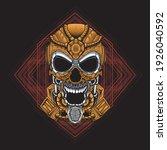 brown mecha skull illustration... | Shutterstock .eps vector #1926040592