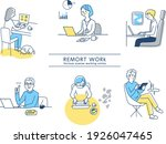 various remote work scene sets | Shutterstock .eps vector #1926047465