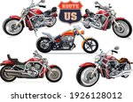 Usa Routs. Big Red Motorcycle