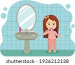 a little cute girl brush clean... | Shutterstock .eps vector #1926212138