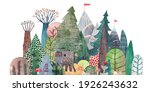 cute forest on a background of... | Shutterstock . vector #1926243632