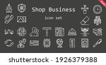 shop business icon set. line...