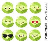 cartoon green cabbage emoji set....   Shutterstock .eps vector #1926419618