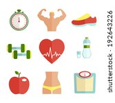 set of flat health and sport... | Shutterstock .eps vector #192643226