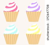 cupcakes. set of four colorful... | Shutterstock .eps vector #192647708