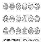 easter eggs set doodle style.... | Shutterstock .eps vector #1926527048