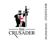 Crusader Knight prays to God as he stands his sword as the Cross