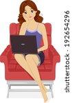 illustration of a girl using... | Shutterstock .eps vector #192654296