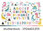 girly dino collection with... | Shutterstock .eps vector #1926601355