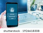 Small photo of Username and password to login on cell phone screen, cyber security concept. Data protection and secured internet access, cyber security on smart phone.
