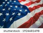 Close up of ruffled american...