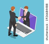 flat 3d isometric businessmen... | Shutterstock .eps vector #1926684488