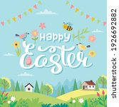 happy easter card with...   Shutterstock .eps vector #1926692882