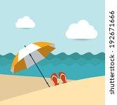 summer beach with yellow...   Shutterstock .eps vector #192671666