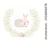 cute funny hare in floral frame ... | Shutterstock .eps vector #1926806078