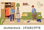 people cleaning living room.... | Shutterstock .eps vector #1926815978